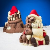 Santa Claus Bear and Reindeer Bell Shell mold