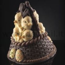 Basket of Chicks Chocolate Easter Bell LINEAGUSCIO Mold